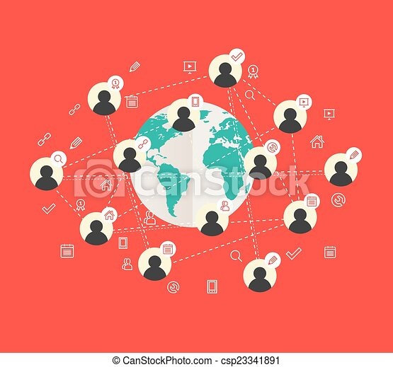 Flat design concept with world map and social network eps vectors flat design concept with world map csp23341891 gumiabroncs Gallery