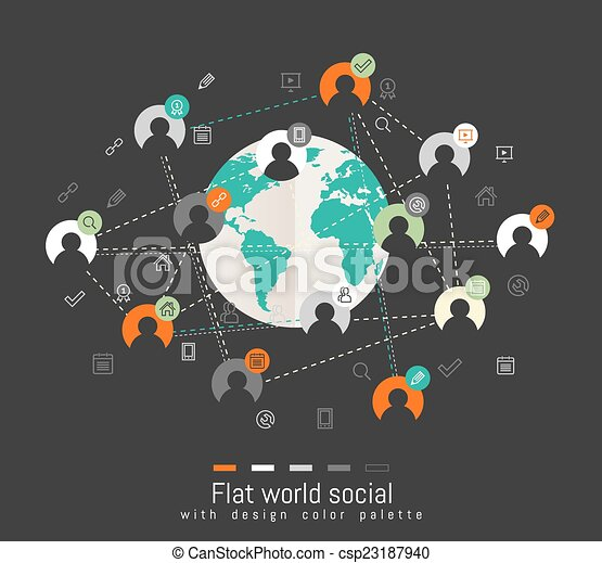 Flat design concept with world map and social network eps flat design concept with world map vector gumiabroncs Images