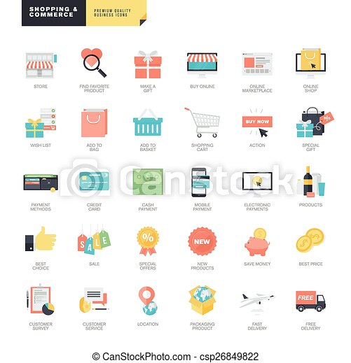 Flat design e commerce icons set of modern flat design online flat design e commerce icons csp26849822 altavistaventures Images