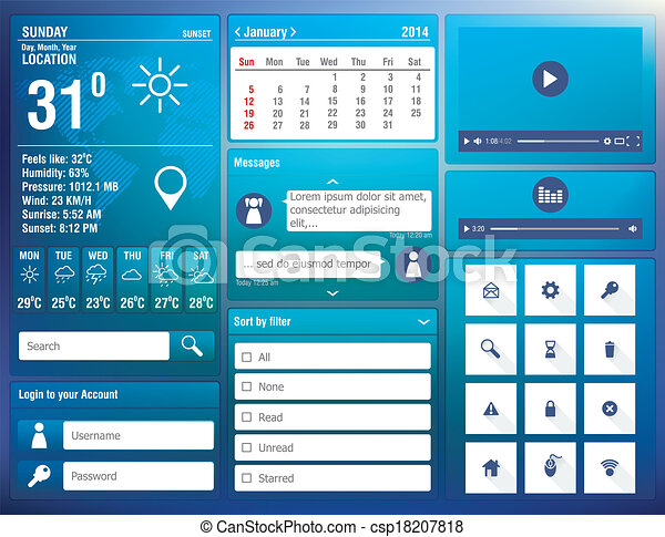 flat design elements for mobile app - csp18207818