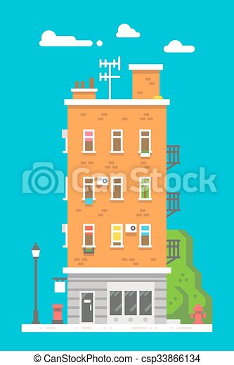 Flat design european colorful apartment illustration for Apartment design vector