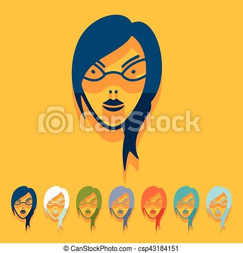 Flat design: face girl - csp43184151