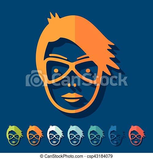 Flat design: face girl - csp43184079