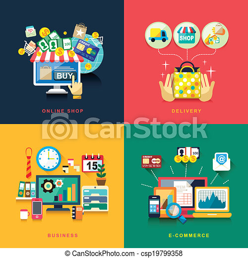 flat design for e-commerce, delivery, online shopping, business - csp19799358