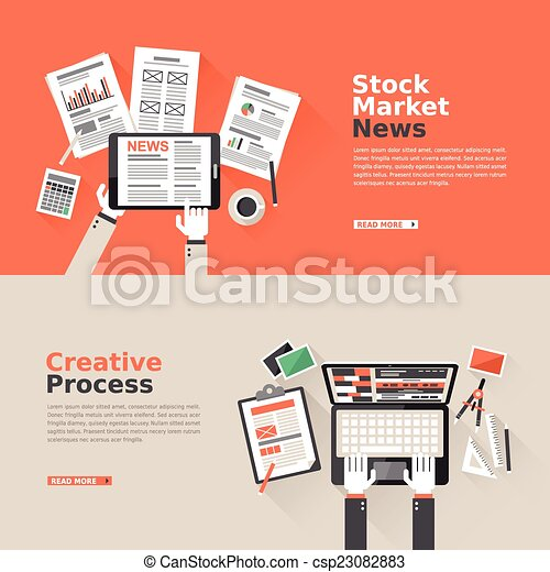flat design for stock market and creative process  - csp23082883