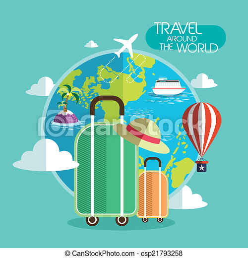 Flat design for travel around the world concept graphic for All around the world cruise