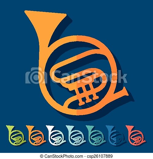 Flat design: french horn - csp26107889