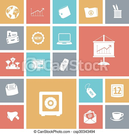 Flat design icons for business - csp30343494