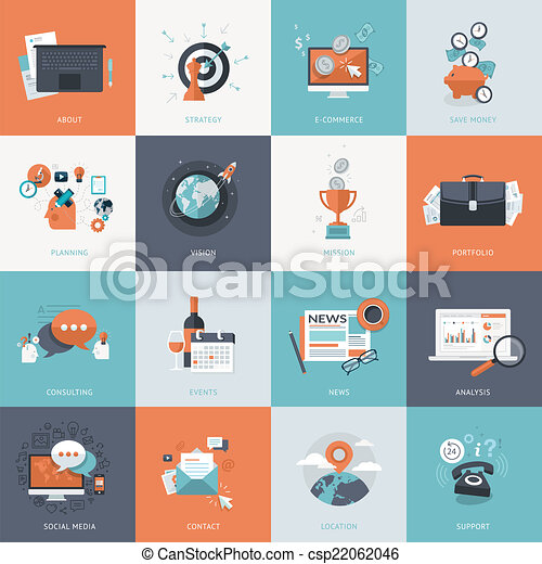 Flat design icons for business - csp22062046
