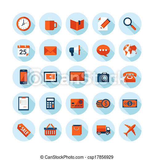 Flat design icons for business - csp17856929