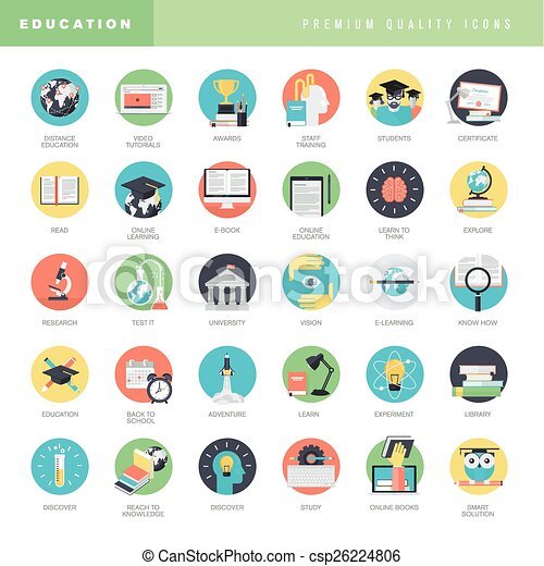 Flat design icons for education - csp26224806