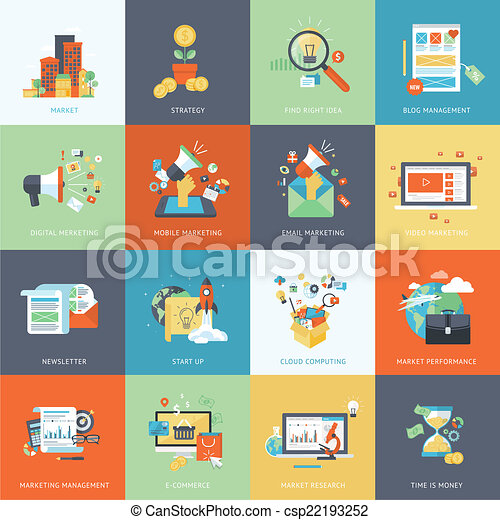 Flat design icons for marketing - csp22193252
