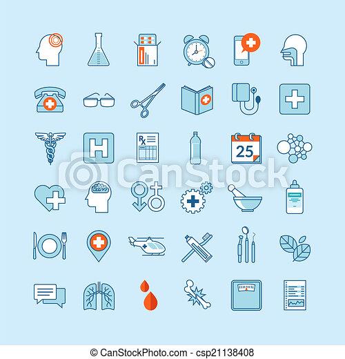 Flat design icons for medicine - csp21138408