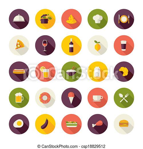 Flat design icons for restaurant - csp18829512