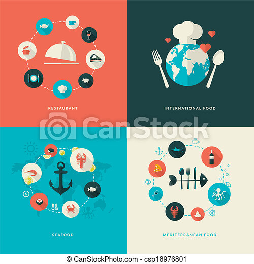 Flat design icons for restaurant - csp18976801