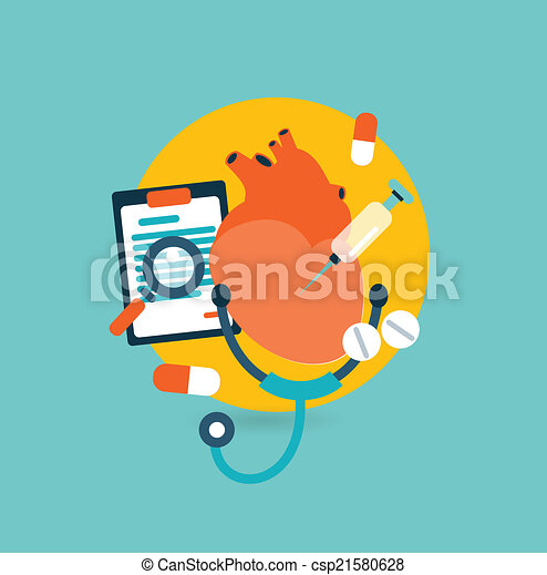 Flat design illustration concept for medicine - csp21580628