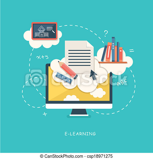 flat design illustration concept for online education - csp18971275