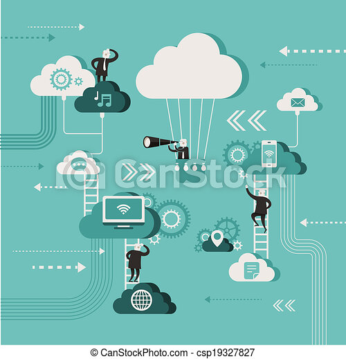 flat design illustration concept of explore cloud network - csp19327827