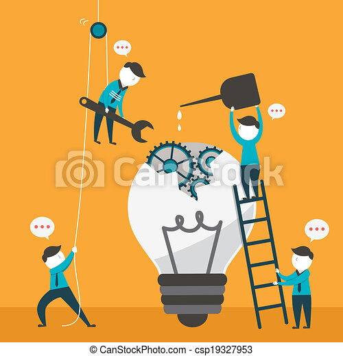 flat design illustration concept of team work - csp19327953