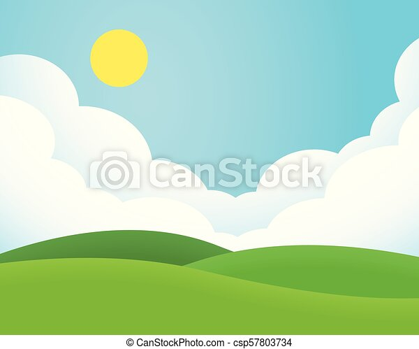 Flat design illustration of landscape with meadow and hill under blue sky with clouds and sun - csp57803734