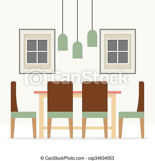Vector. Flat Design Interior Dining Room.   Csp34634053