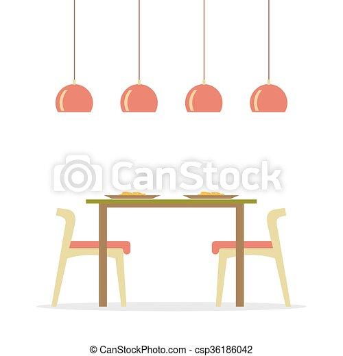 Vector. Flat Design Interior Dining Room.   Csp36186042
