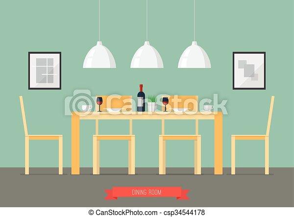 Flat Design Interior Dining Room   Csp34544178