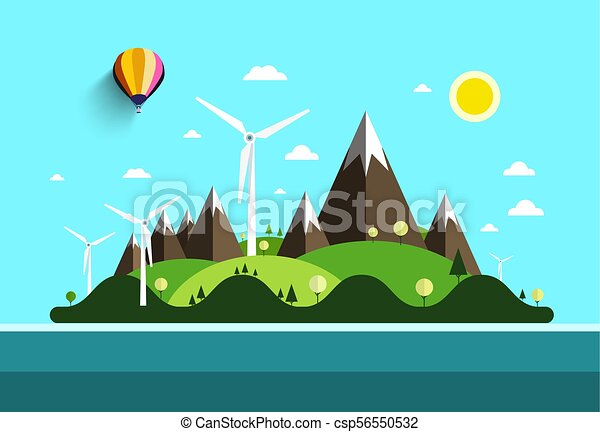 Flat Design Landscape. Island in Ocean. Vector Nature Scene with Hills and Mountains with Windmills. - csp56550532