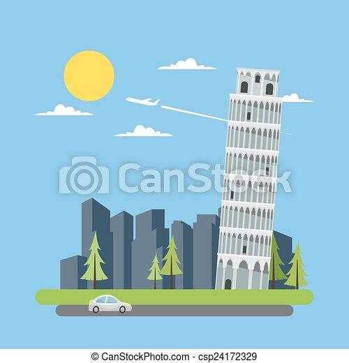 Flat design leaning tower of Pisa - csp24172329