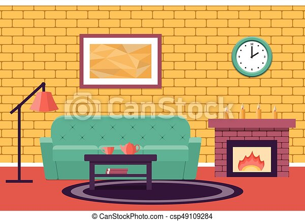 Flat Design Living Room Vector Graphic Room Interior