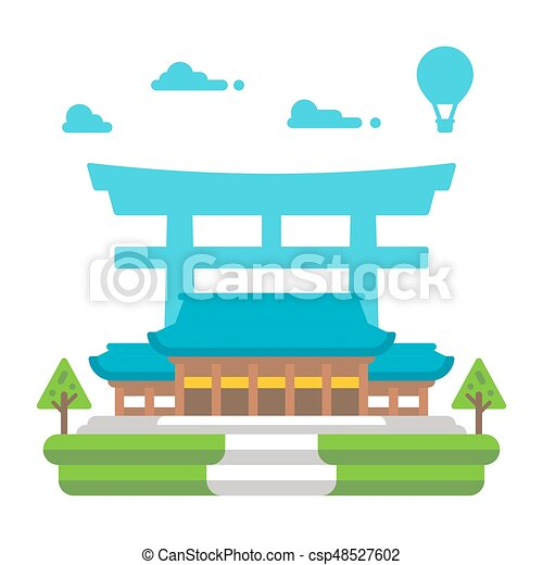 flat design meiji shrine tokyo illustration vector vector clipart rh canstockphoto com shrine clipart images shrine clipart png