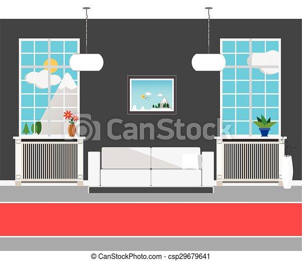 Flat design modern interior hall of the Institute - csp29679641