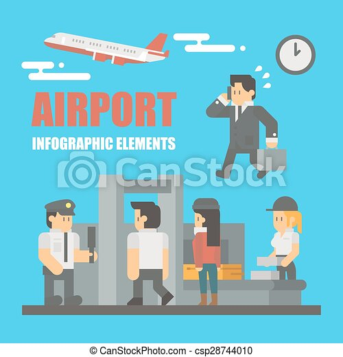 Flat design of airport infographic elements - csp28744010