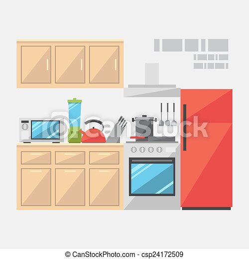 Flat Design Of Kitchen Interior Illustration Vector