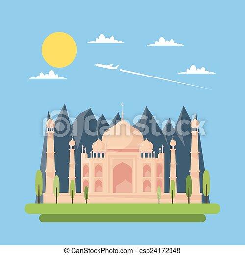 Flat design of Taj Mahal - csp24172348