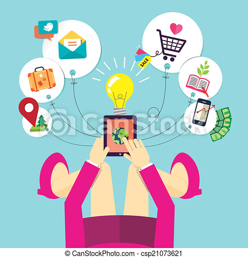 flat design of woman holds mobile device  - csp21073621