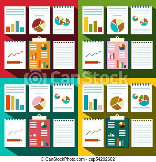 Flat design Paperwork Background with Graphs and Report Title Covers - csp54202602