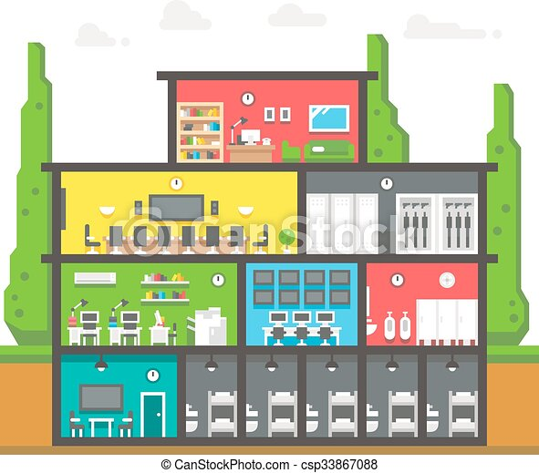 Police station clipart  Vector of Flat design police station interior illustration vector ...
