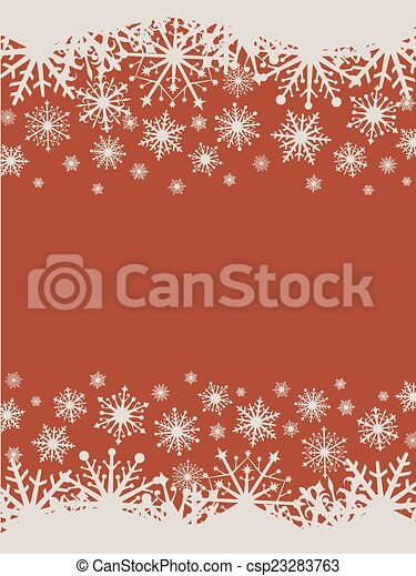 Flat design red Christmas vector background with snowflakes. - csp23283763