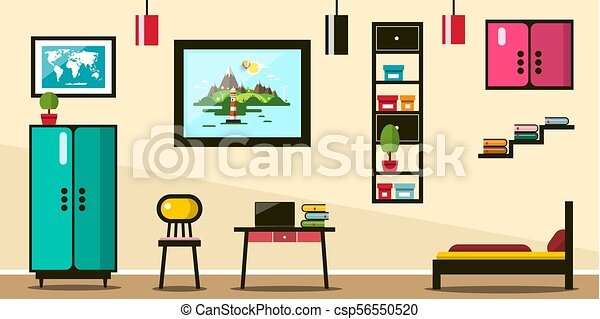 Flat Design Room. Working Space with Bed and Furniture. - csp56550520