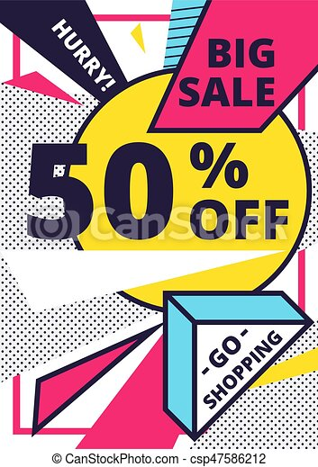 flat design sale website banner template bright colorful vector