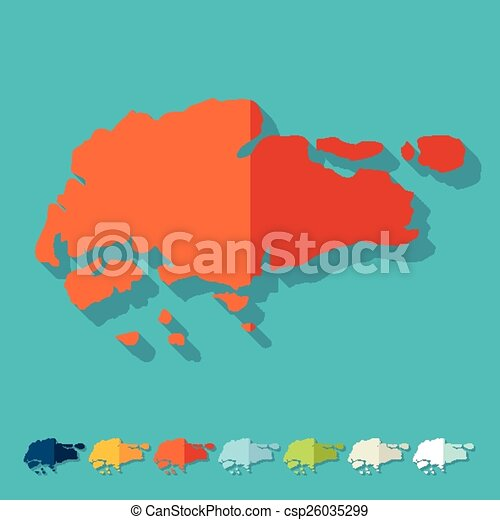 Flat Design Singapore Map Eps Vectors Search Clip Art - Singapore map vector