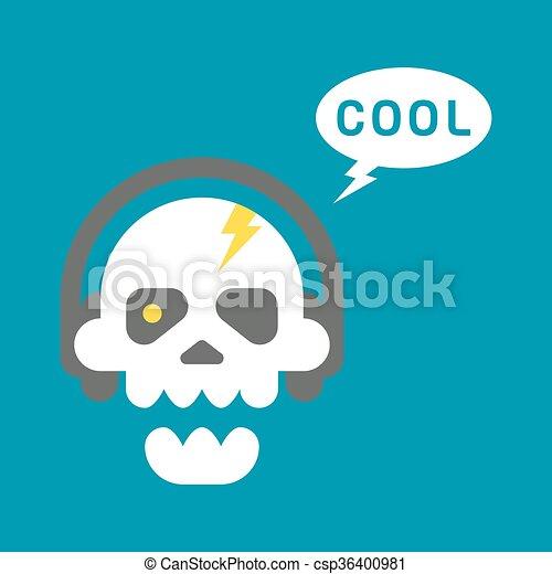 Flat design skull with headphones  - csp36400981