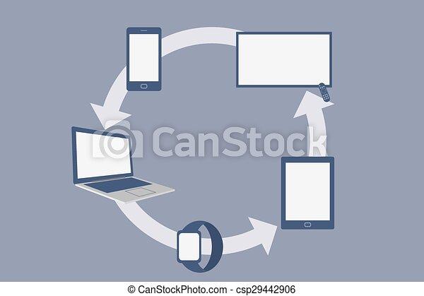 Flat Design Smart Devices, Social Network Concept. Vector Illustration - csp29442906