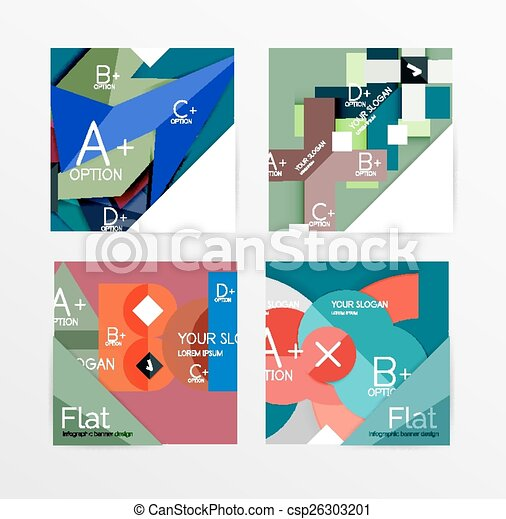 flat design square shape infographic banner csp26303201