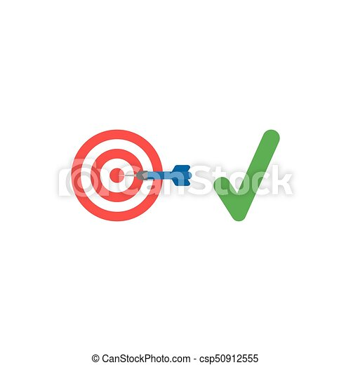 Flat design style vector concept of bulls eye with dart in the center and check mark - csp50912555