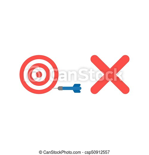 Flat design style vector concept of bulls eye with dart in the side and x mark - csp50912557