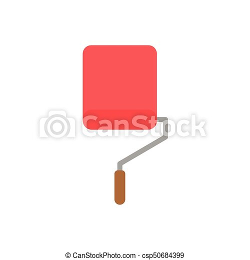 Flat Design Style Vector Concept Of Roller Paint Brush Icon Painting