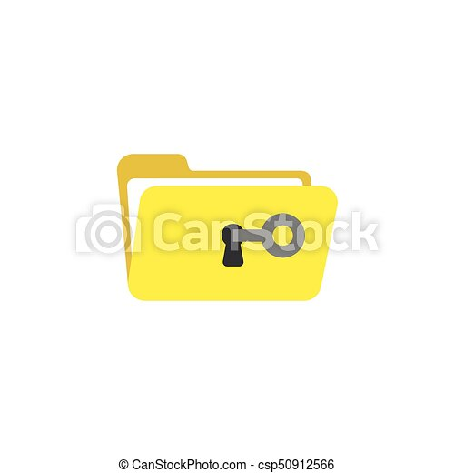 Flat design style vector concept of key unlock or open folder keyhole - csp50912566
