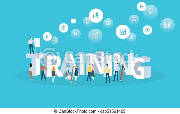 Flat design style web banner for training courses, staff training, online education, specialization, retraining - csp51561423